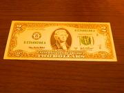 Продам Золотую банкноту 2$ сувенирная копия (односторонняя)