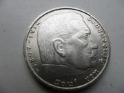 Серебряные монеты 2 рейхсмарки,  Германия,  Третий Рейх, оригинал.