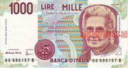 Банкнота 1000 лир Италия 1990 г.